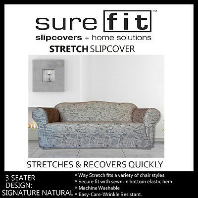3 Seater Surefit Stretch Couch Lounge Sofa Cover   Slipcover   Signature Natural