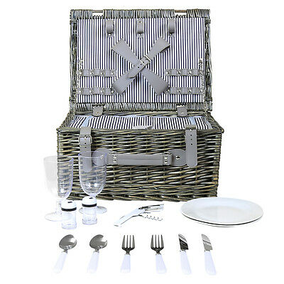 Wicker Picnic Basket Hamper Set For 2 Or 4 Person - Striped Lining