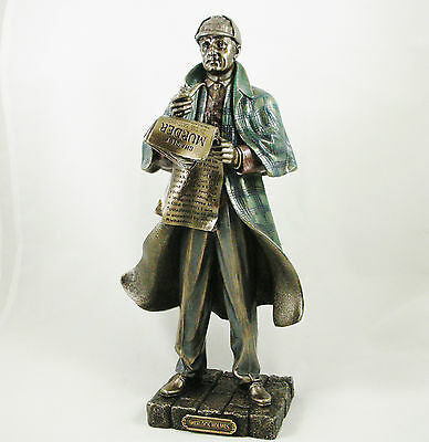 Sherlock Holmes Figure | Standing Bronzed Statue Figurine Iconic Ornament NEW IN
