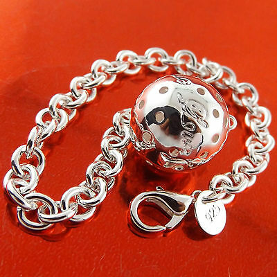 455 Genuine Real 925 Sterling Silver S/f Solid Ladies Ball Charm Bracelet Bangle
