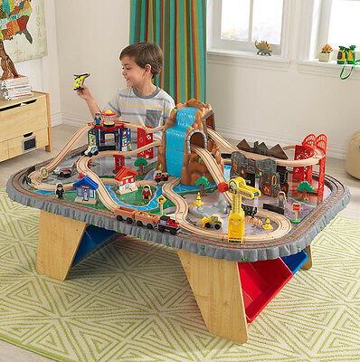 KidKraft Waterfall Junction Train Set and Table Kids Boys Toy Play Railway Track