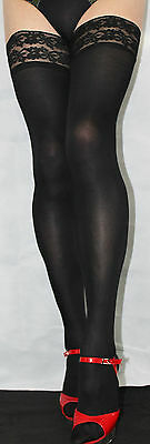 Extra long Black Smooth 80 denier Opaque Hold Up Soft Feel Luxury Lace top