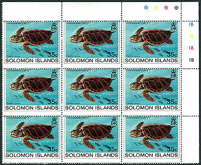 Solomon Islands 1983 35 cent Loggerhead Turtle block (9) MISPERF fine, fresh MNH