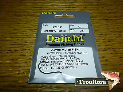 15 x DAIICHI 2557 #2 INTRUDER TRAILER HOOKS BLACK NICKEL - NEW FLY TYING HOOK