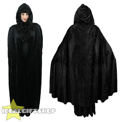 Black Hooded Velour Cape Vampire Halloween Adults Fancy Dress Cloak Womens Mens