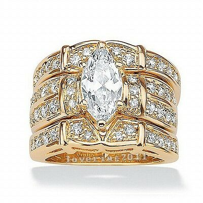 Women Marquise Cut Diamonique Cz 14KT Yellow Gold Filled Wedding Band Ring Set