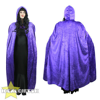 Purple Hooded Velour Cape Vampire Halloween Adults Fancy Dress Cloak Womens Mens