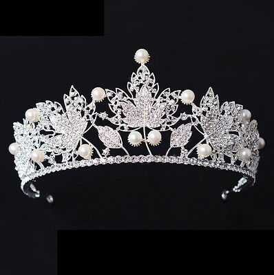 7cm High Full Crystal Pearl Leaf Crown Wedding Bridal Party Pageant Prom Tiara