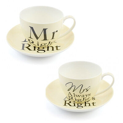 Mr & Mrs Always Right Cup Saucer Set Espresso Gift Wedding Present China Coffee