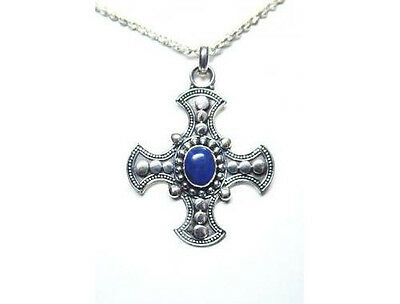 .925 Sterling Silver & Lapis Lazuli Celtic Cross Pendant