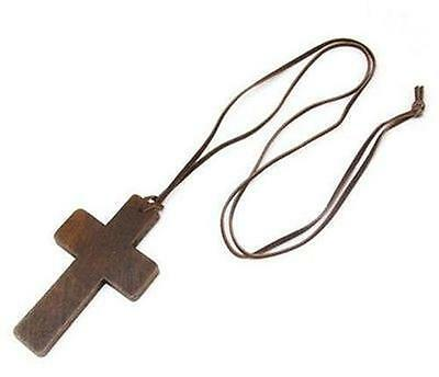 LARGE Wood MONKS CROSS cardinal Pries Vicar Nun Fancy Dress Necklace Clergy Gift