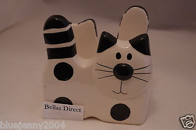 Novelty Ceramic Black & White Cat Napkin Serviette Holder Cat Lovers Gift