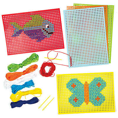 Cross Stitch Kits for Children to Design Sew and Display (Pack of 6)