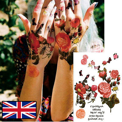 Watercolour Floral Flower Tattoo Temporary Tattoo Body Art Retro Boho Tattoo