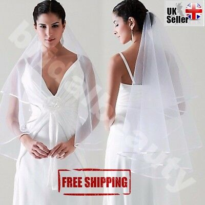 White Ivory Wedding Veil Bride to Be Hen Night Stag Party Fancy Dress Costume