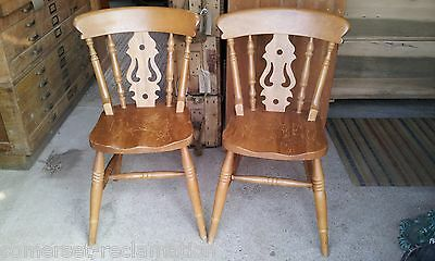 Pair Of Solid Beech Fiddle Back Farmhouse Kitchen Chairs