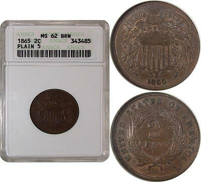 1865 Two Cent Piece 'Plain 5' ** ANACS MS62BN ** Small White Holder