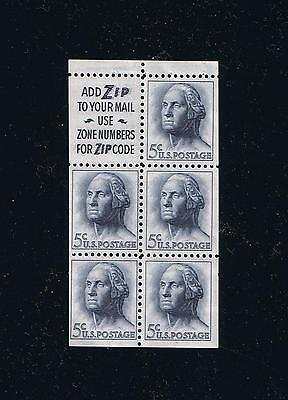 US Sc 1213a 1964 Washington Booklet Pane Slogan 2 Not Tagged Postage Stamp (g)