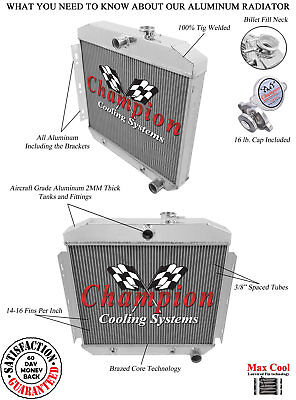 1955 1956 Chevy Two-Ten Series 3 Row A//C Duty RR Radiator 6 Cylinder Mount