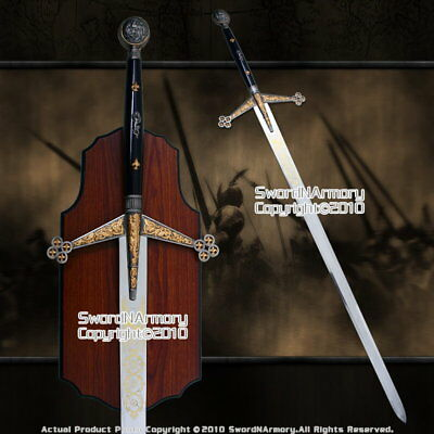 "56 "" Scottish Claymore Full Size Medieval Knight Long Sword with Display Plaque"
