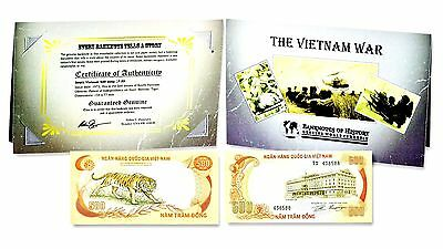 THE Vietnam War 500 Dong Single Banknote, Folder and Story