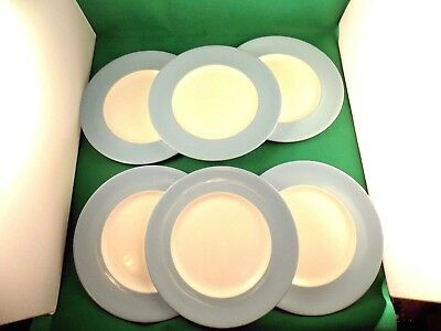 Royal Doulton Vista White & Blue 6 x Dinner Plates   c 1950