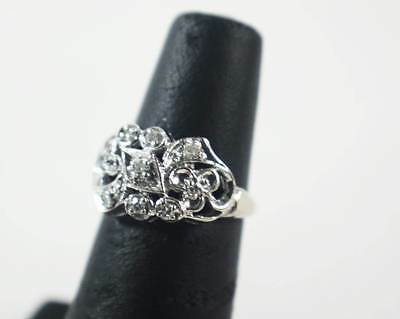 Vintage 14KT White Gold Diamond Ornate Floral Ring Size 4