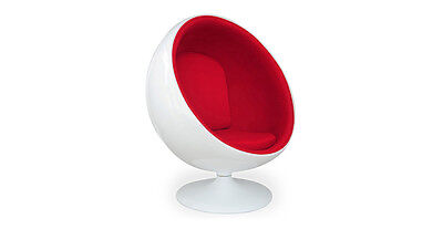 MODERN BALL CHAIR White Fiberglass/Red Microfiber egg swan womb lounge accent