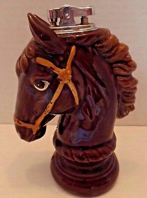 Vintage Brown Horse Head Ceramic Cigarette Lighter Japan Table Top