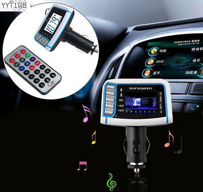 "1.44"" LCD Wireless FM Transmitter Car MP3 Player TF Card USB Drive Remote Music"
