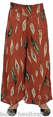 Rust Printed Georgette Palazzo Boho Harem Trouser Wide Leg Pant DX37