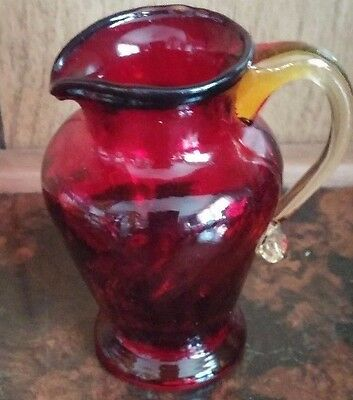 Vintage Hand Blown Swirl Art Glass Ruby Red Miniature Creamer Toothpick Holder