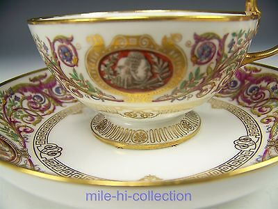 Lovely Antique French Sevres Porcelain Cup Saucer Royal