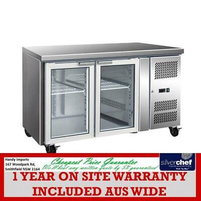 Fed Commercial 2 Glass Door Gastronorm Bench Fridge Gn Chiller Cooler Gn2100Tng