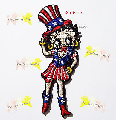 NEW ~ Betty Boop Patch ~Top Hat & Boots ~ Red White & Blue ~All American Girl