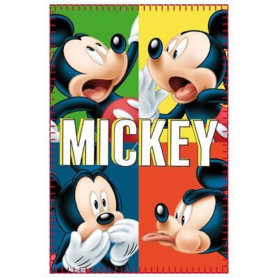 Childrens Fleece Blanket Throw Kids Official Disney Character Mickey Mouse -Muti