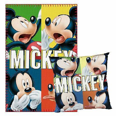 Children Kids Official Disney Character Mickey Mouse Fleece Blanket & Pillow Set