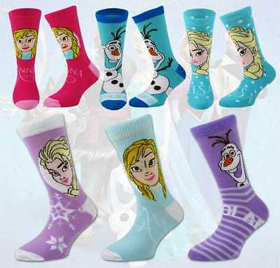 Girls 3 Pairs of Frozen Character Ankle Socks Elsa Anna Olaf Offical Disney