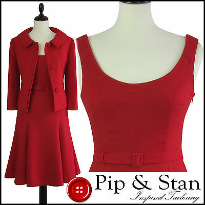 Next Uk16 Us12 Red Swing Dress Suit 50S Style Empire Line Womens Ladies Size