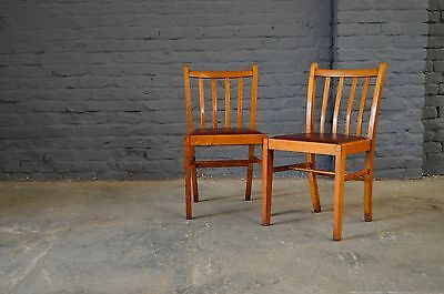 2x Retro Vintage Mid Century Oak Red Vinyl Dining Chairs