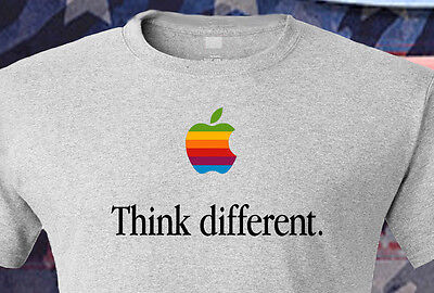 THINK DIFFERENT Apple OSX Mac Color Logo Computer Mens T-shirt Gift