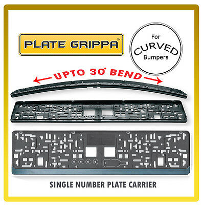 Plate Grippa™ Number Plate Holder / Surround S/Steel Effect - for CURVED Bumpers