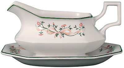 Johnson Bros Eternal Beau SAUCE GRAVY BOAT AND UNDER PLATE NEW