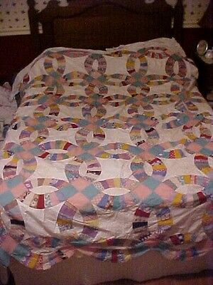 1930s PIECED QUILT TOP,  DOUBLE WEDDING RING, FEEDSACK FABRIC