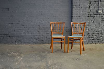2x Retro Vintage Mid Century Bentwood Beech Kitchen Dining Chairs Blue Vinyl