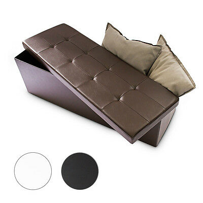 Folding Ottoman Bench Storage Space Faux Leather Seat, 3 Colors to Choose From