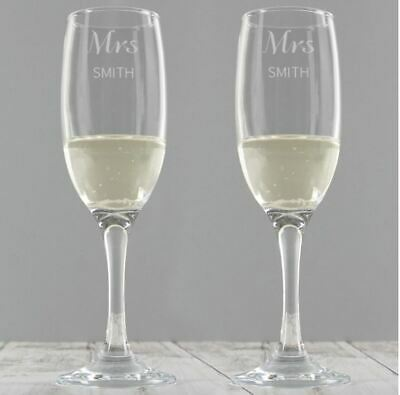 Personalised Mr&Mr Pair Of Flutes Champagne Glasses Set Wedding Gift Boxed