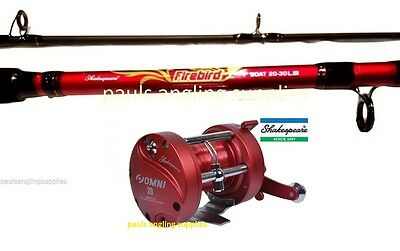 Shakespeare Firebird OMNI Boat Fishing Rod & Multiplier Reel Sea Fishing Line LH