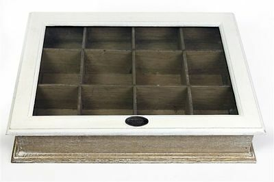White Natural Wooden Glass Vintage Shabby Chic Tea Storage Box 12 Compartments