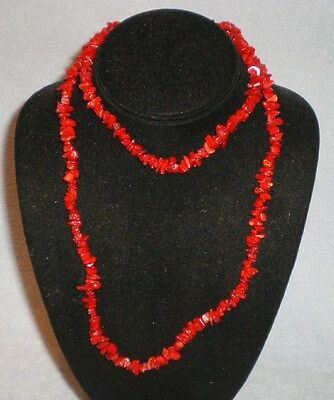 """Antique Deep Red Natural Coral Necklace 34"""""""